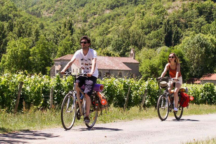A vélo dans les vignes - Véloroute Vallée du Lot © Lot Tourisme - P. Foresti